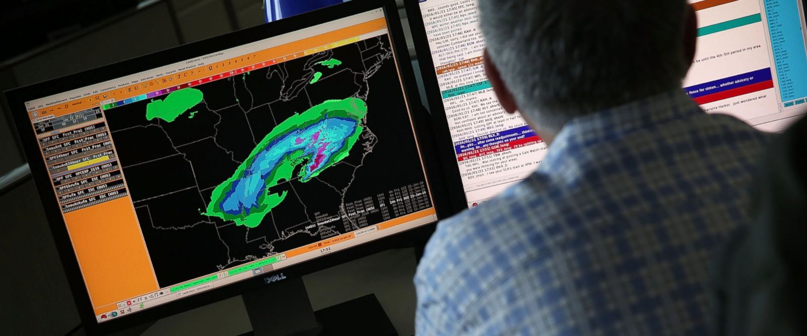 PHOTO: A forecaster at the NOAA Center for Weather and Climate Prediction in College Park, Maryland analyses data of an incoming winter storm January 21, 2016.