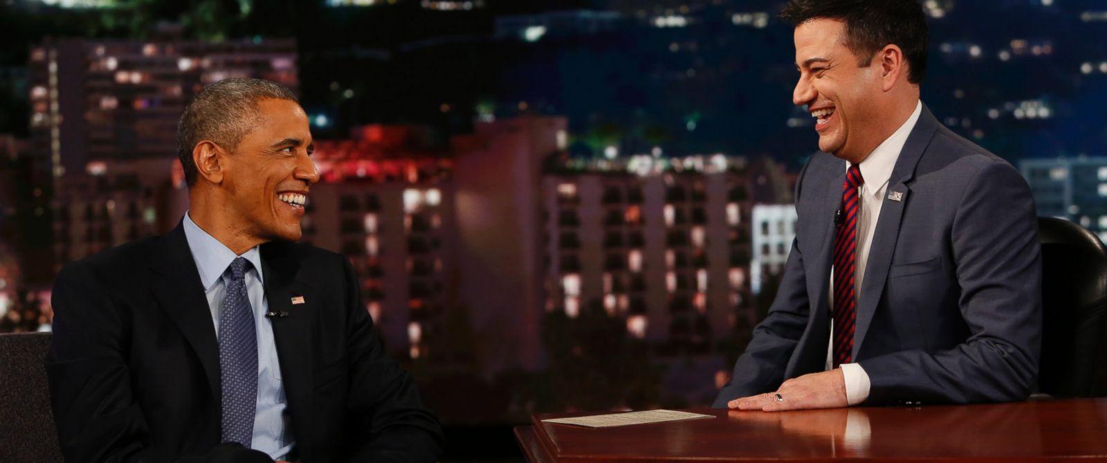 "PHOTO: President Obama speaks with Jimmy Kimmel on ""Jimmy Kimmel Live,"" March 12, 2015."