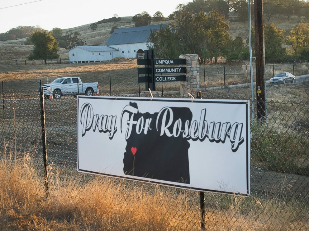 PHOTO: A sign sits along the road to Umpqua Community College, Oct 2, 2015, in Roseburg, Ore.