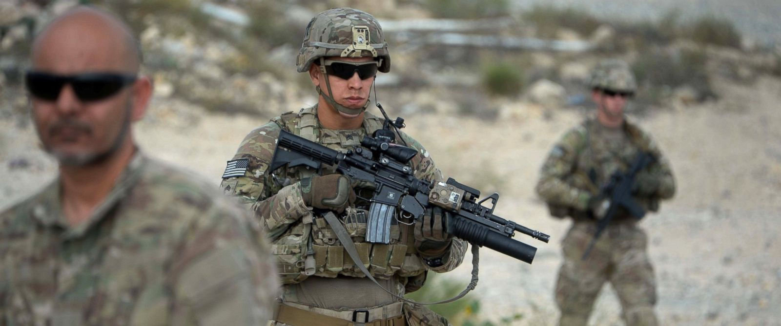 PHOTO: US soldiers part of NATO patrol during the final day of a month long anti-Taliban operation by the Afghan National Army (ANA) in various parts of eastern Nangarhar province, at an Afghan National Army base in Khogyani district, Aug. 30, 2015.