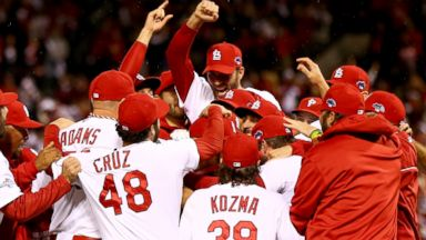 PHOTO: The St. Louis Cardinals celebrate after defeating the Los Angeles Dodgers in Game Six of the National League Championship Series at Busch Stadium in St. Louis, Oct. 18, 2013.