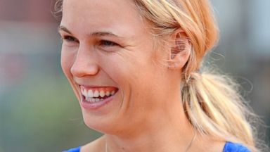 PHOTO: Caroline Wozniacki looks on during a coaching clinic during day two of the Internazionali BNL dItalia on May 12, 2014 in Rome, Italy.