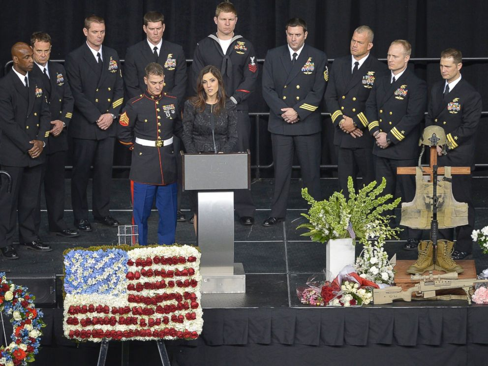 PHOTO: Taya Kyle addresses the audience at the funeral of her husband, Chris Kyle, at Cowboys Stadium in Arlington, Texas on Feb. 11, 2013.