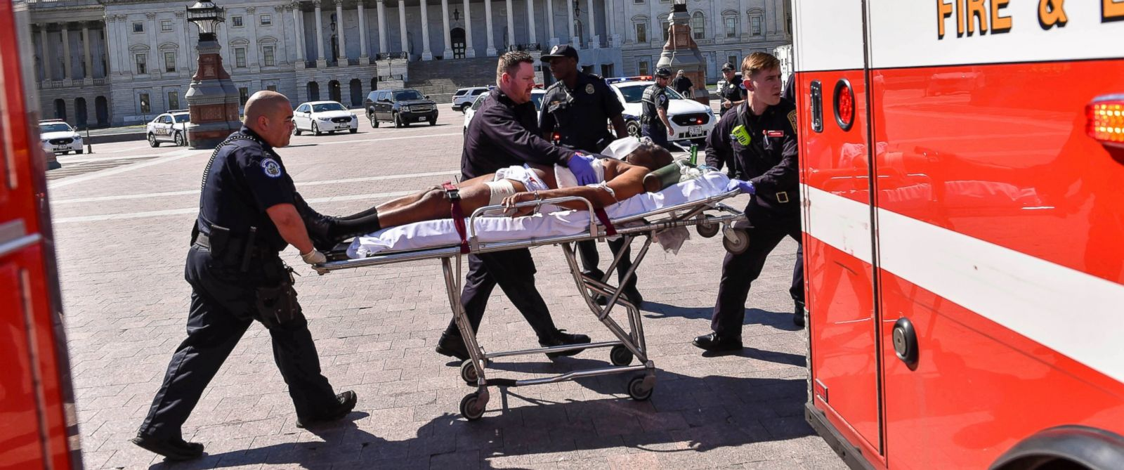 PHOTO: Police and EMS personnel transport the person believed to be the gunman away from the shooting scene at the U.S. Capitol Visitor Center, March 28, 2016, in Washington.