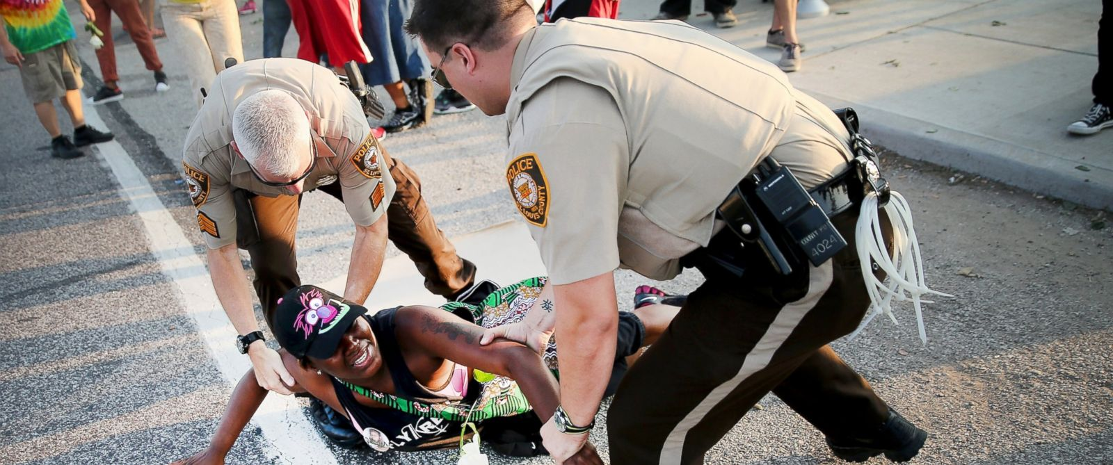 PHOTO: A demonstrator is arrested while protesting the killing of teenager Michael Brown, Aug. 19, 2014, in Ferguson, Mo.