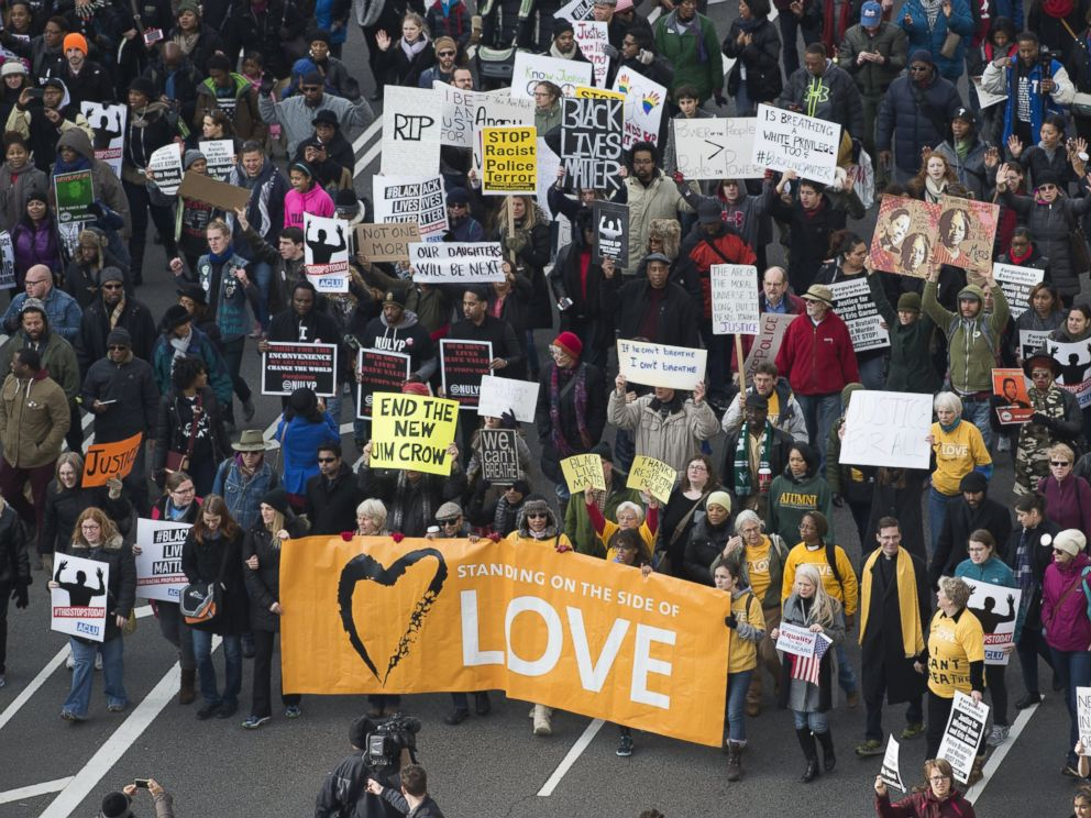 PHOTO: Thousands take part in the Justice for All march and rally on Pennsylvania Avenue to the Capitol in Washington, Dec. 13, 2014.