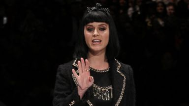 PHOTO: Katy Perry poses on the runway prior to the start of the Moschino womens Fall-Winter 2014-15 collection, part of the Milan Fashion Week, unveiled in Milan, Thursday, Feb. 20, 2014.