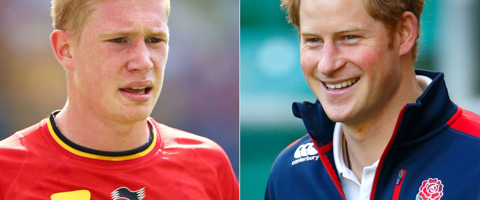 PHOTO: Kevin De Bruyne of Belgium in Rio de Janeiro, Brazil, June 22, 2014. | Prince Harry in London, Oct. 17, 2013.