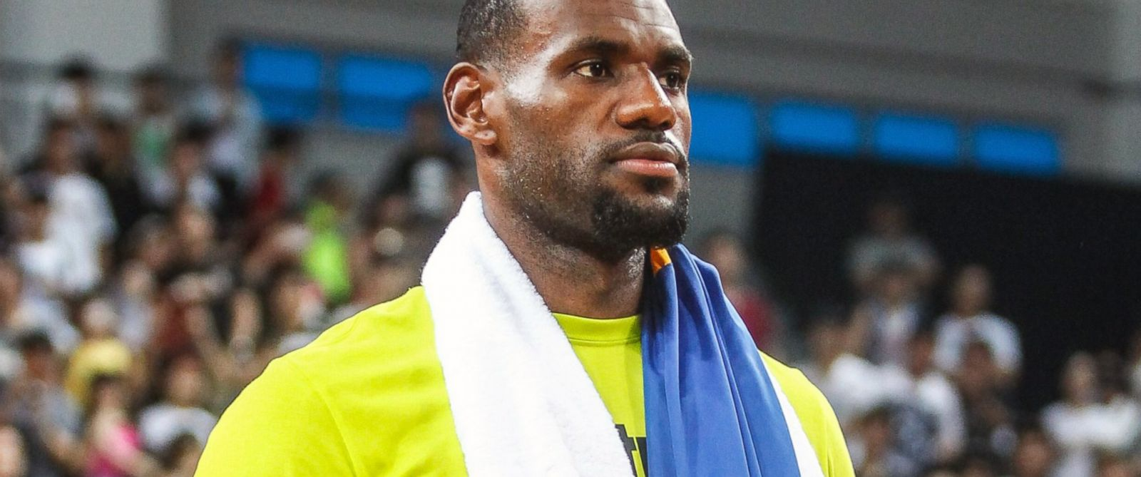 PHOTO: LeBron James of the Cleveland Cavaliers meets fans at Guangzhou Sport University, July 22, 2014, in Guangzhou, China.