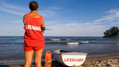PHOTO: In this stock image, a lifeguard watches over swimmers on Lake Ontario in Toronto, Canada.