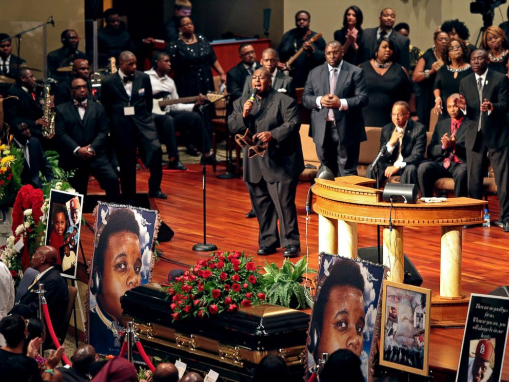 PHOTO: Funeral services for Michael Brown are held on Aug. 25, 2014, at Friendly Temple Missionary Baptist Church in St. Louis, Mo.