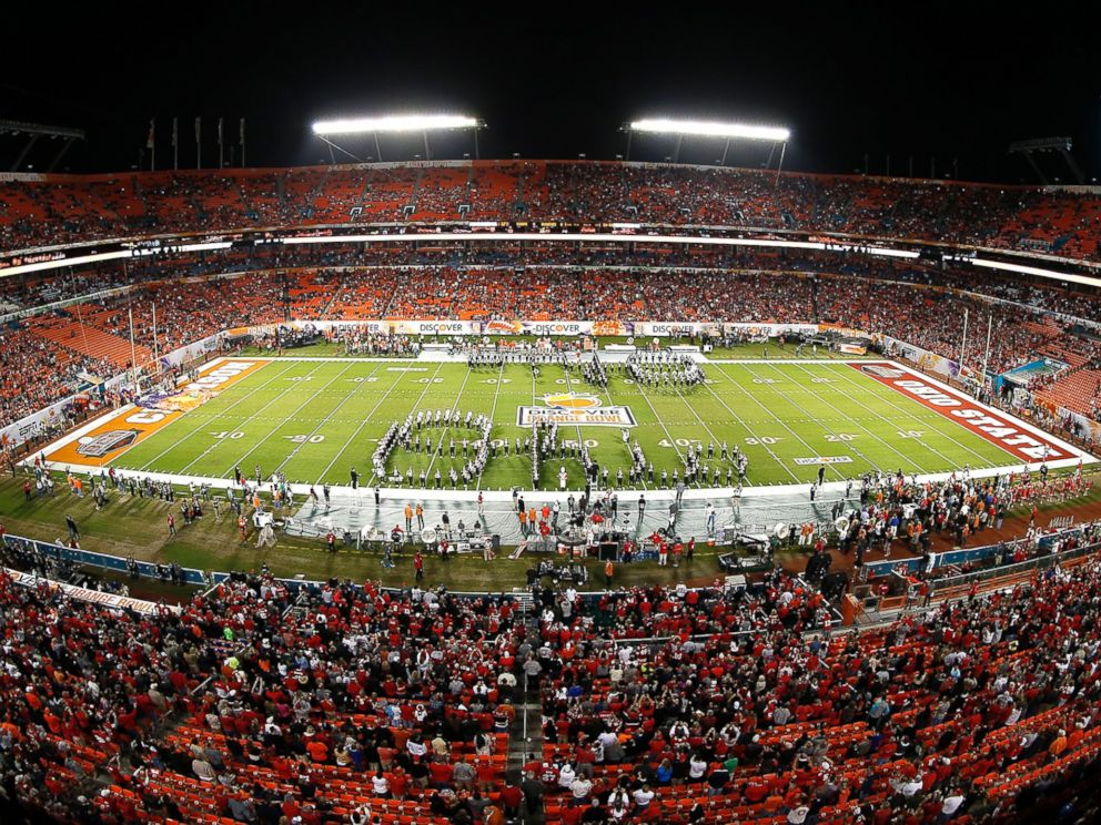 PHOTO: The Ohio State Buckeyes marching band performs prior to the game against the Clemson Tigers during the 2014 Discover Orange Bowl at Sun Life Stadium, Jan. 3, 2014, in Miami.