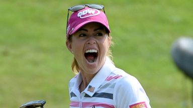 PHOTO: Paula Creamer celebrates after completing the final round of the HSBC Womens Champions at the Sentosa Golf Club on Mar. 2, 2014 in Singapore.
