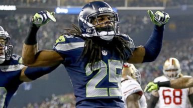 PHOTO: Cornerback Richard Sherman #25 of the Seattle Seahawks celebrates after the victory against the San Francisco 49ers during the 2014 NFC Championship, Jan. 19, 2014, in Seattle.