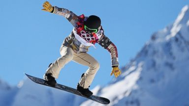 PHOTO: Shaun White practices during training for Snowboard Slopestyle, Feb. 3, 2014, in Sochi, Russia.