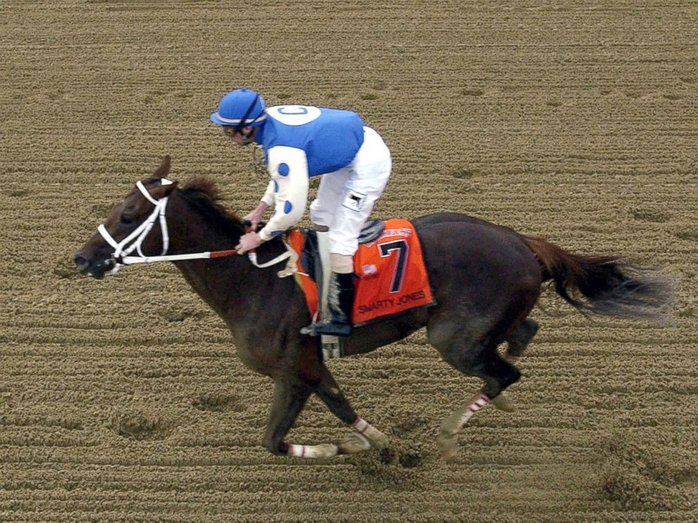PHOTO: Smarty Jones, with jockey Stewart Elliott, crosses the finish line, May 15, 2004, at Pimlico Race Track in Baltimore, Maryland.