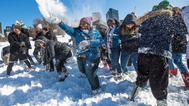 PHOTO: About 50 people participated in a planned snowball fight on Boston Common after a blizzard dropped over two feet of snow in the area, Feb. 10, 2013.