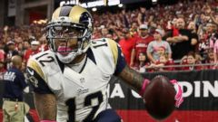 PHOTO: Wide receiver Stedman Bailey #12 of the St. Louis Rams celebrates his third quarter touchdown at the University of Phoenix Stadium, Oct. 4, 2015 in Glendale, Ariz.