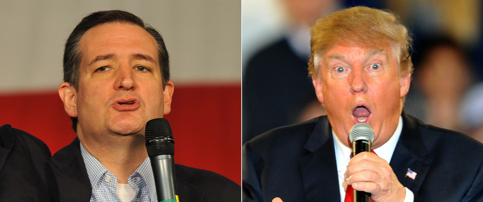 PHOTO: (L-R) Republican presidential candidate Sen. Ted Cruz at the Iowa State Fair in Des Moines, Iowa, Oct. 31, 2015. | Republican Presidential Candidate Donald Trump at a Town Hall style campaign rally in Des Moines, Iowa, Dec. 11, 2015.