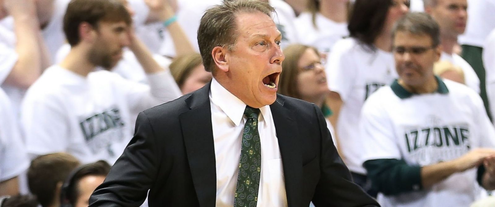 PHOTO: Michigan State Spartans head basketball coach Tom Izzo reacts to a officials call