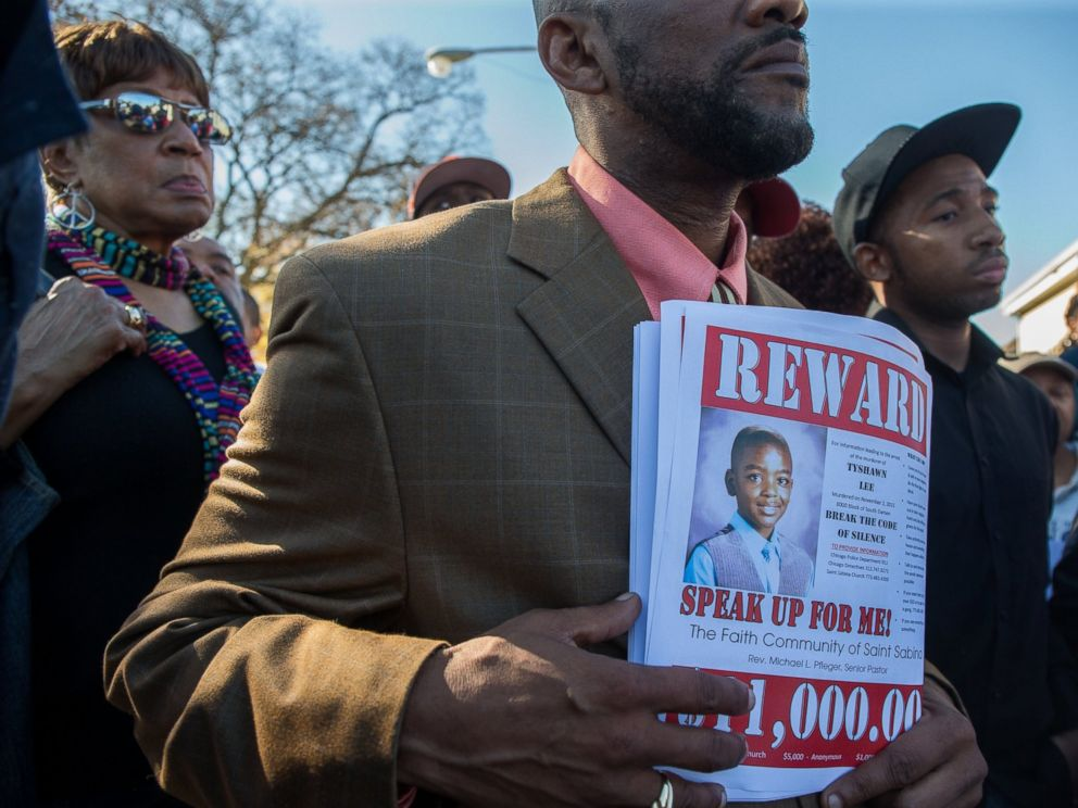 PHOTO: A memorial was held at the site where Tyshawn Lee, 9, was fatally shot in Chicagos Gresham neighborhood, March 7, 2016.