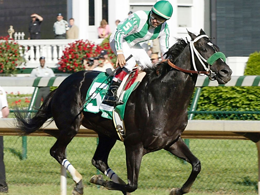PHOTO: Jockey Victor Espinoza rides War Emblem to the finish line, winning the 128th Kentucky Derby, May 4, 2002, at Churchill Downs in Louisville, KY.