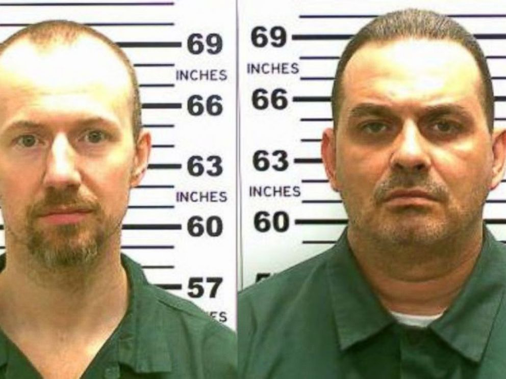 PHOTO:In this handout from New York State Police, convicted murderers David Sweat and Richard Matt are shown in this composite image.