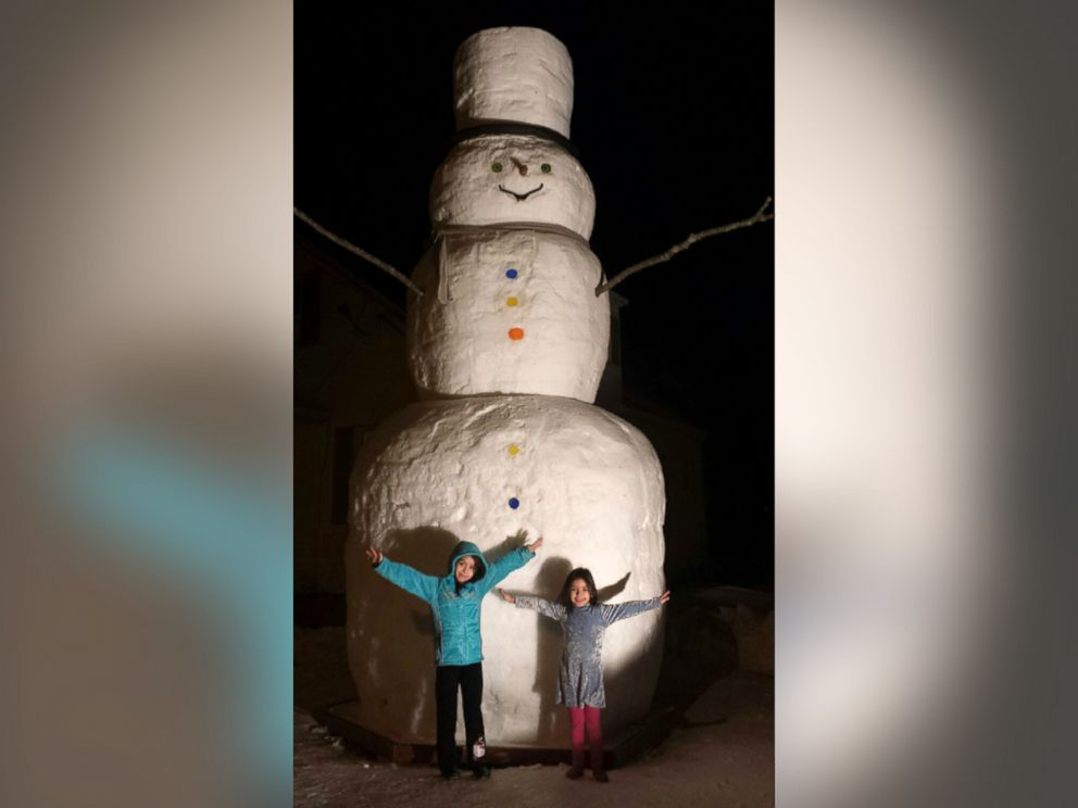 PHOTO: A father in Providence, Rhode Island built a 16-foot-tall snowman as a labor of love for his two daughters.