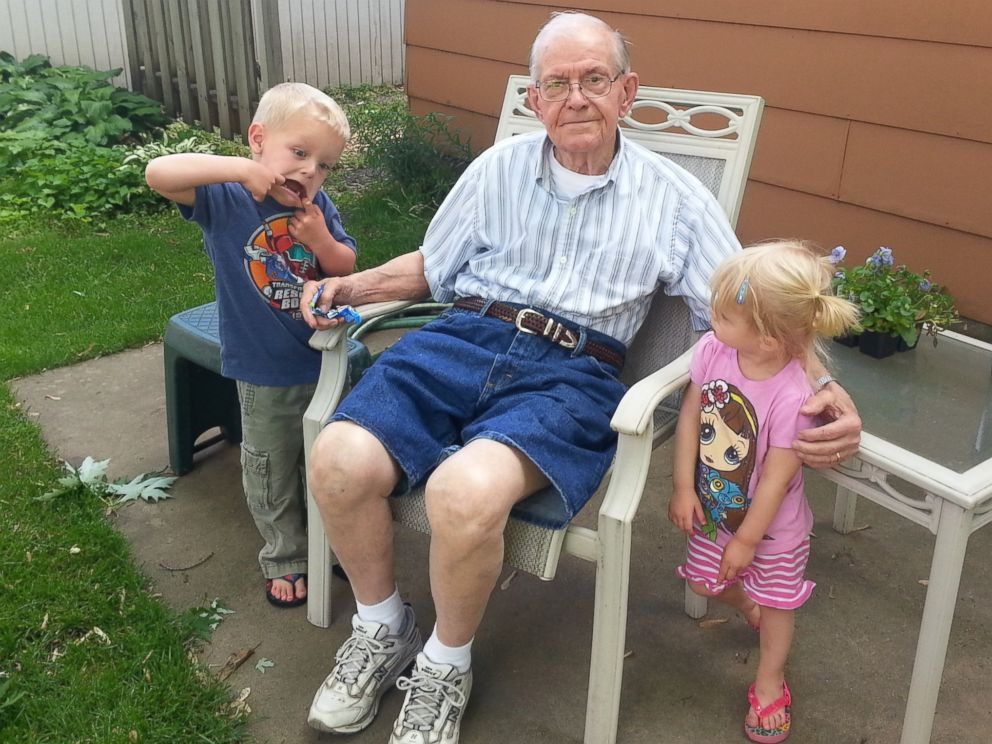 PHOTO: Emmett, left, Erling and the family's daughter resting on the yard.
