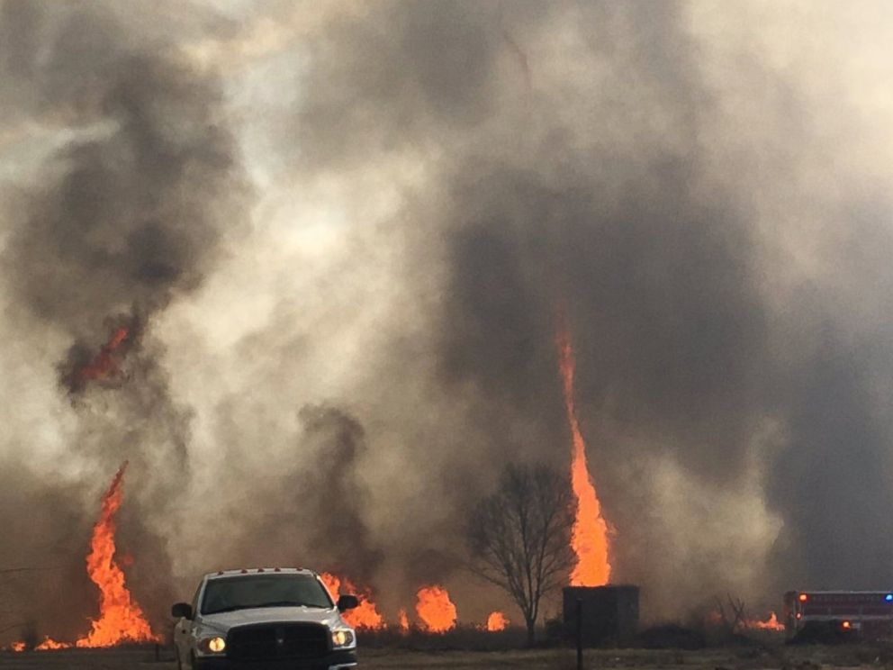 PHOTO: Fires broke out in Missouri and turned into whirls of flames in the air, due to high wind speeds, according to Dean Cull, Deputy Chief of the Southern Platte Fire Protection District.