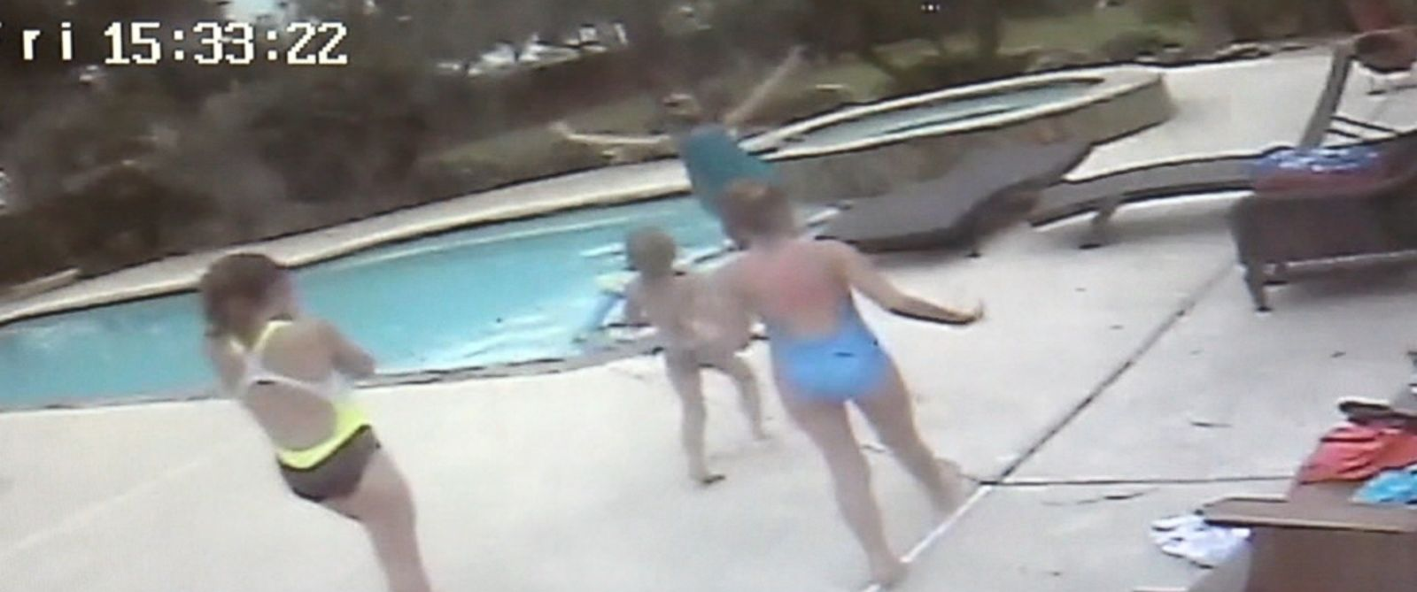 PHOTO: A 5-year-old girl has been hailed a hero after caught on surveillance video saving her mother after she went unconscious in a backyard swimming pool in Portland, Texas, on March 18, 2016.
