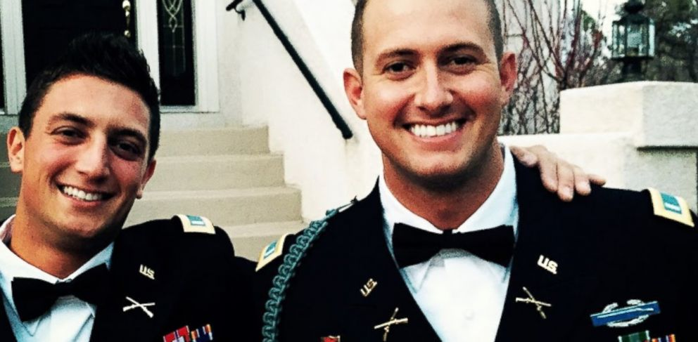 PHOTO: 1st Lt. Andrew Yacovone and 1st Lt. Justin Wright, Army rangers currently deployed in Afghanistan and members of the band Interstate 10, sport their dress uniforms
