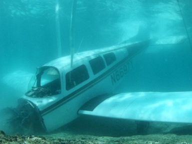 PHOTO: An underwater photo shows a plane that crashed off the shore of the island of Oahu, Hawaii, May, 24, 2016.