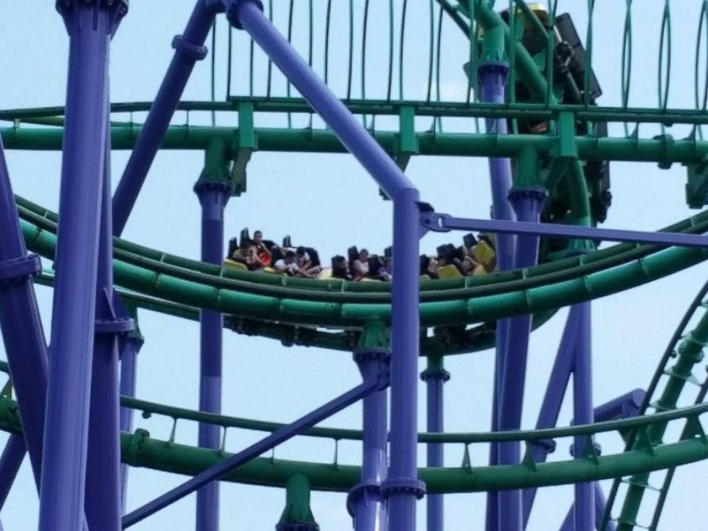 PHOTO: As many as 24 people were trapped Sunday, Aug. 10, 2014, on a stuck roller coaster at Six Flags America in Upper Marlboro, Md.