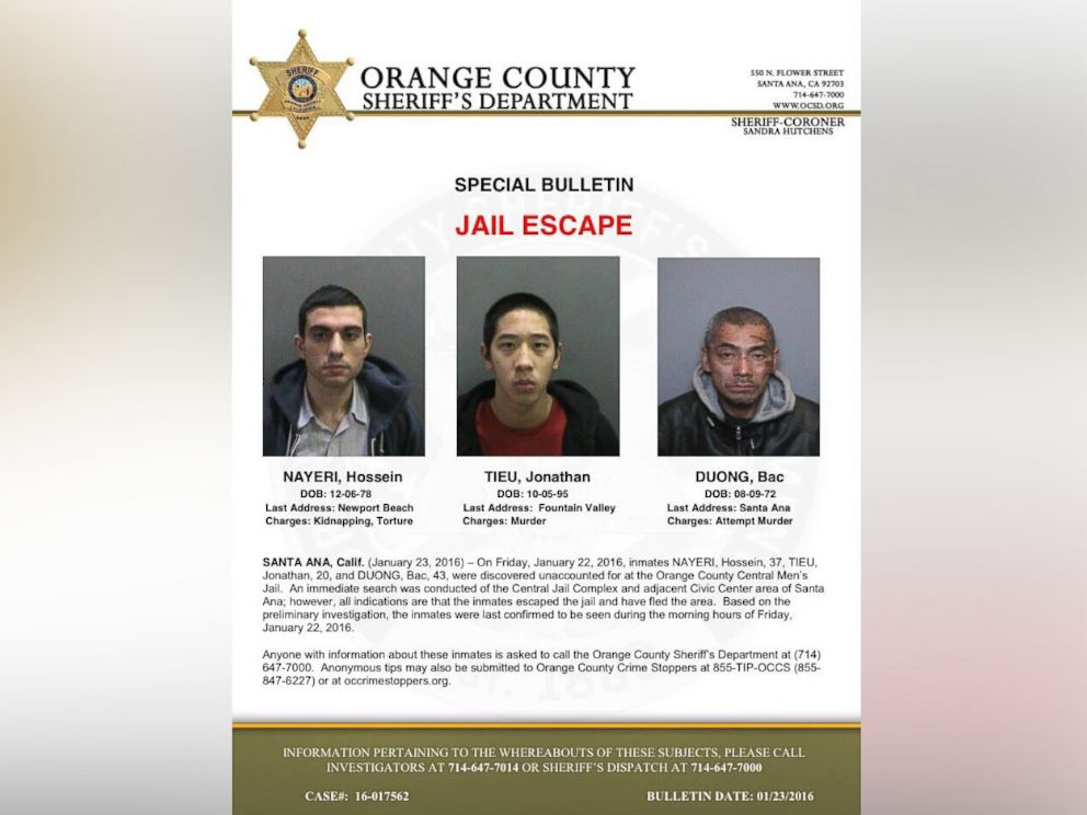 PHOTO: Authorities released this flyer seeking the publics help in apprehending three inmates who allegedly escaped from a Southern California jail.