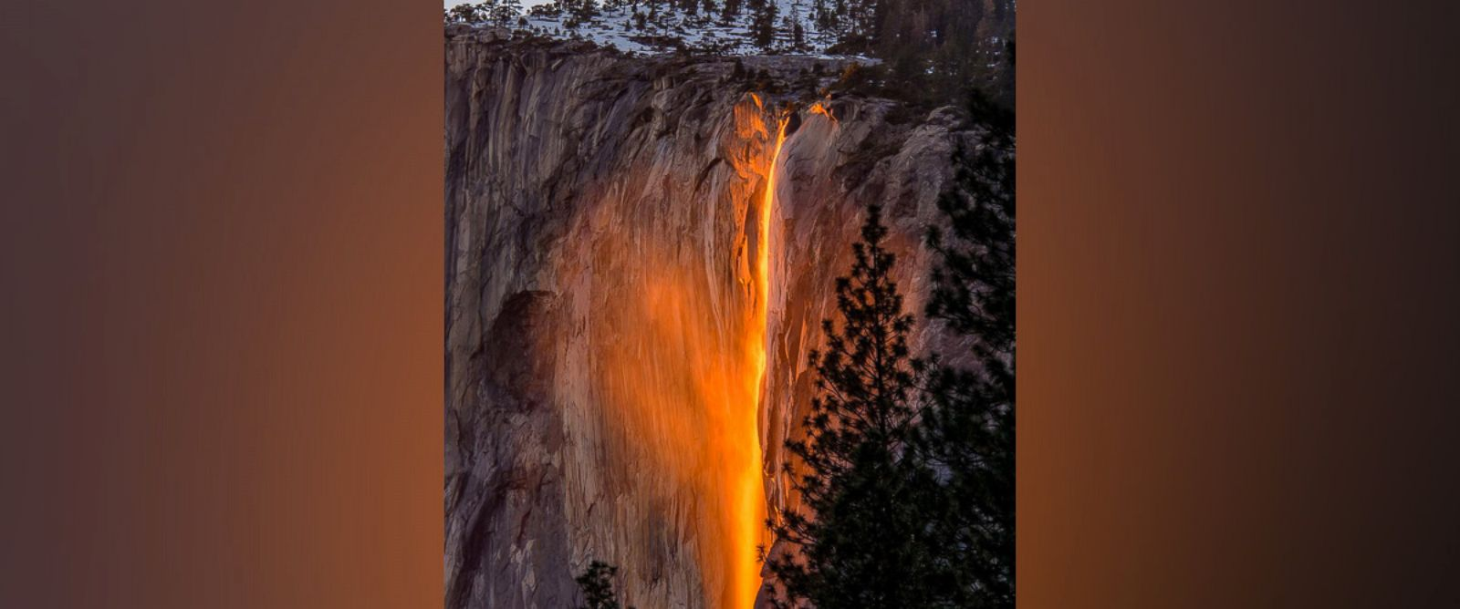 PHOTO: Striking images of Horsetail Fall waterfall in Yosemite park. Every year for about two weeks in February the sun sets in such a way that it looks as though the waterfall is on fire.