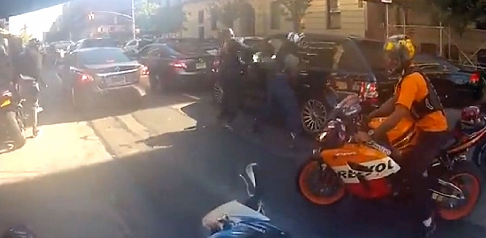 PHOTO: Daphne Avalon posted video, Black Range Rover Runs Over Bikers in NYC, on YouTube showing a biker and car chase ending in biker smashing the drivers window and assaulting him.