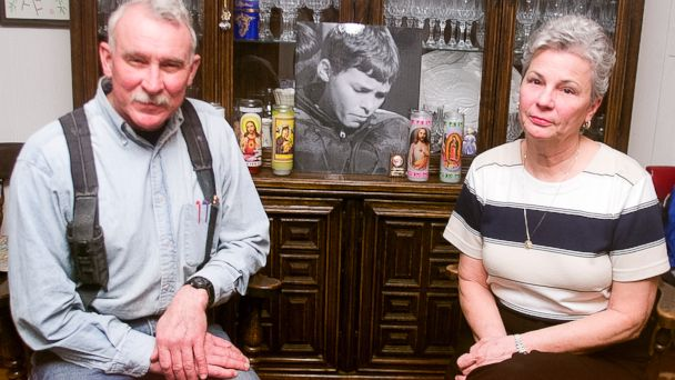 PHOTO: Bill and Terry Carrick are seen here with a photo of their missing son Brian Carrick