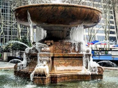 PHOTO: BryantParkNYC posted this photo to Instagram on Feb. 12, 2016 with the caption, After a series of false starts, its looking like well finally see a full frozen fountain this weekend!