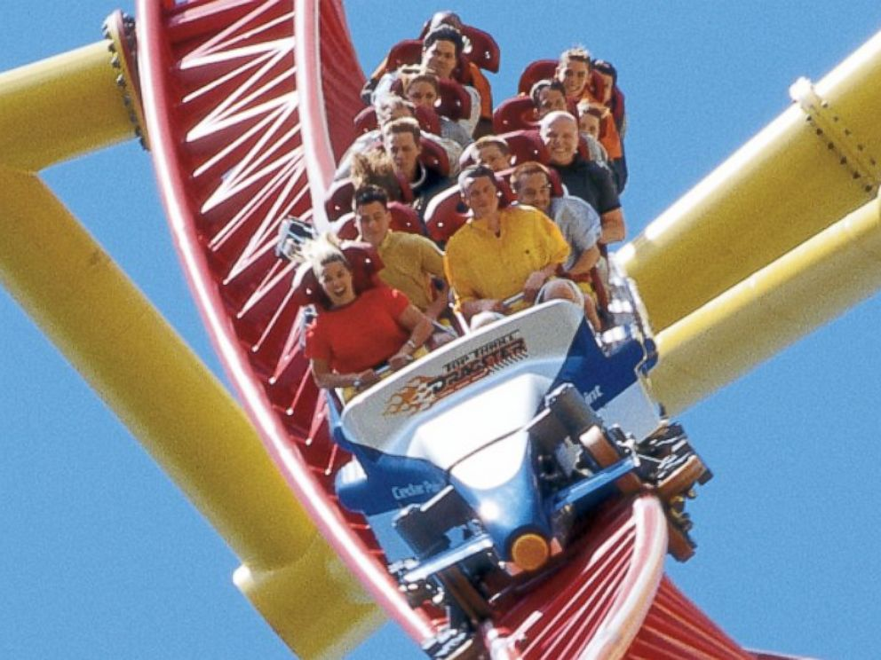 PHOTO: Top Thrill Dragster rollercoaster at Cedar Point amusement park in Sandusky, Ohio.