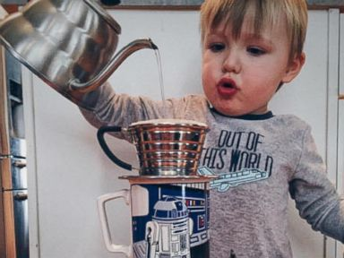 PHOTO: Adler, the three-year-old barista from Fort Collins, Colo., crafting a pour-over coffee.