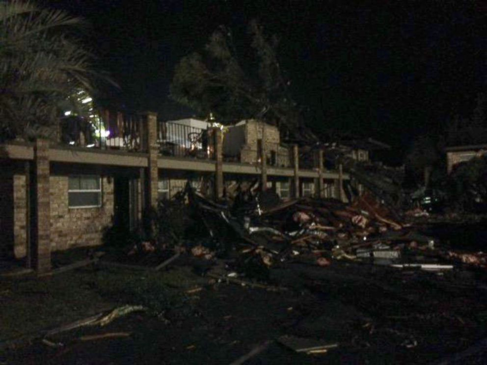 PHOTO: An apparent tornado ripped through Escambia County, Florida Tuesday night, destroying an apartment complex in Pensacola.