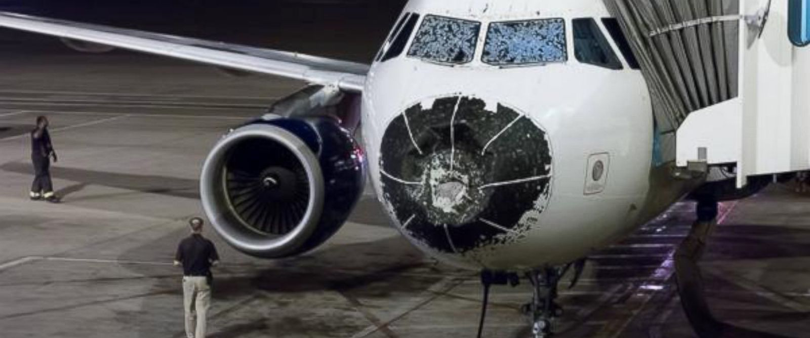 "PHOTO: Jeff Johnson posted this photo to Twitter on Aug. 8, 2015 with the caption, ""Hail damage to my plane while flying from Boston to Salt Lake. Emergency landing in Denver."""
