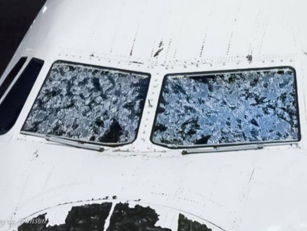 PHOTO: Jeff Johnson posted this photo to Twitter on Aug. 8, 2015 with the caption, Hail damage to my plane while flying from Boston to Salt Lake. Emergency landing in Denver.