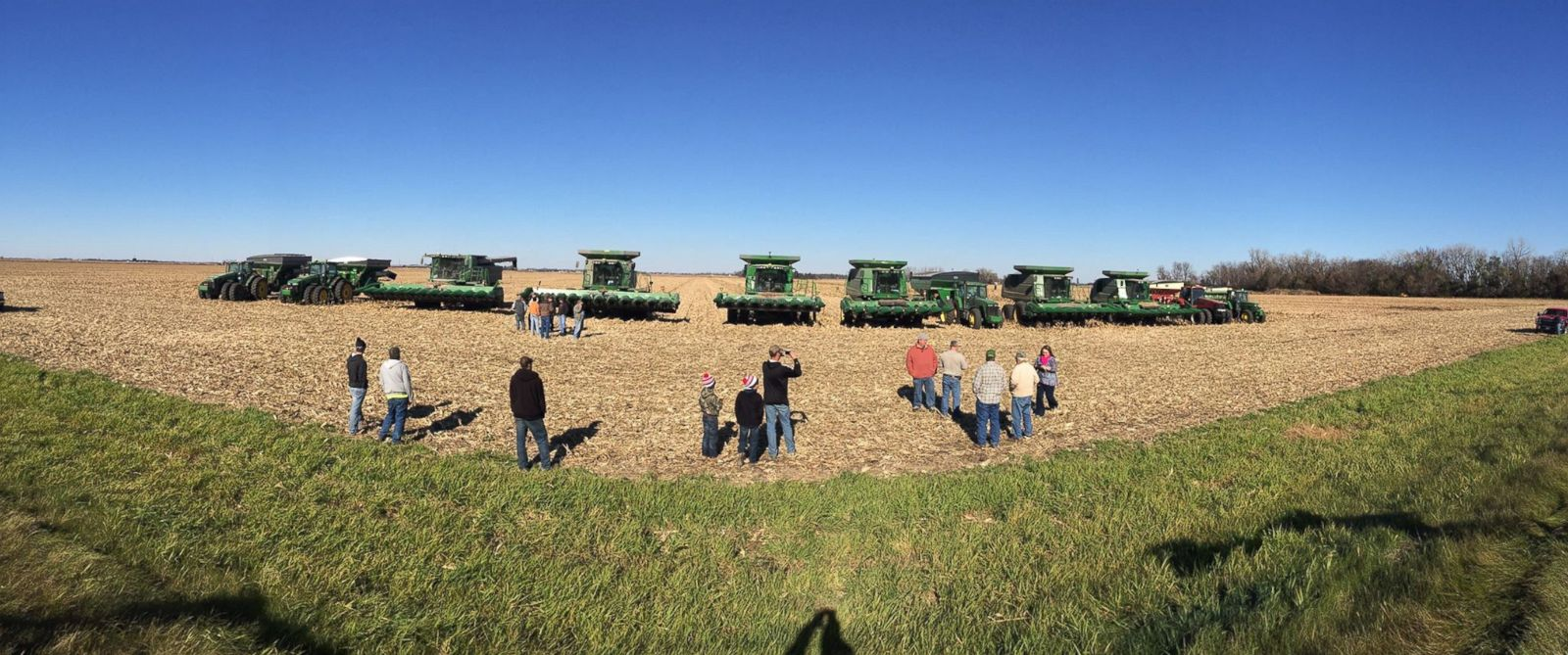 PHOTO:Members of the Lennox, South Dakota farming community come together to complete the harvest of Dave Klinghagen, who passed away suddenly.