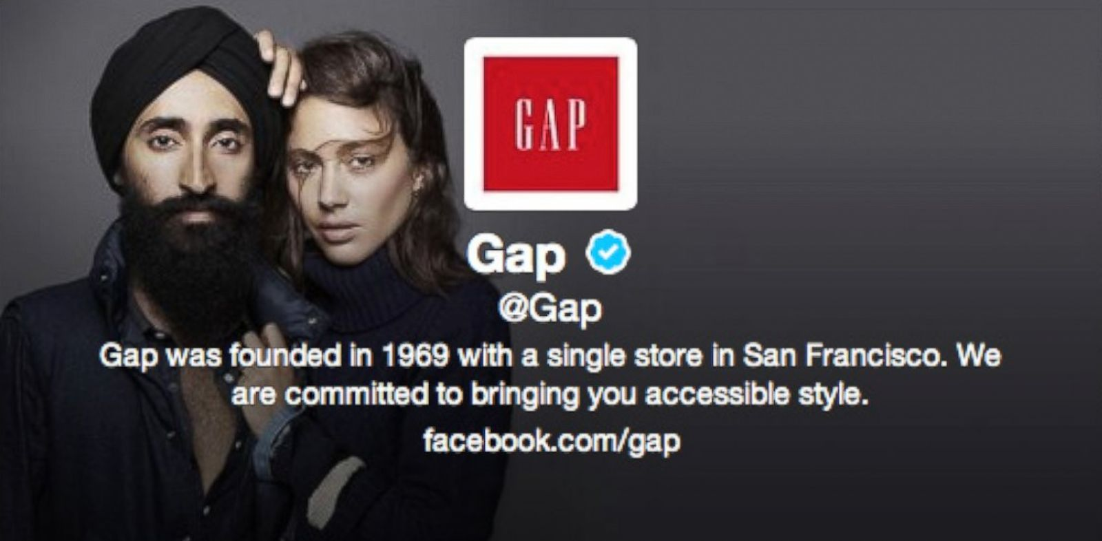 PHOTO: Gap changed the header of its Twitter page to feature Sikh actor and designer Waris Ahluwalia