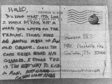 PHOTO: Volunteer State Community College in Gallatin, Tennessee received a postcard in the mail in October suggesting a possible murder on railroad tracks, but police have yet to find any bodies.