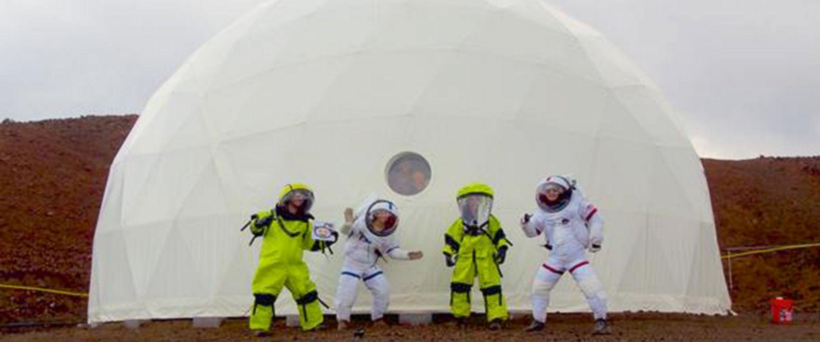 PHOTO: The HI-SEAS Mars Mission crew and simulator at Mauna Loa volcano, in Hawaii.