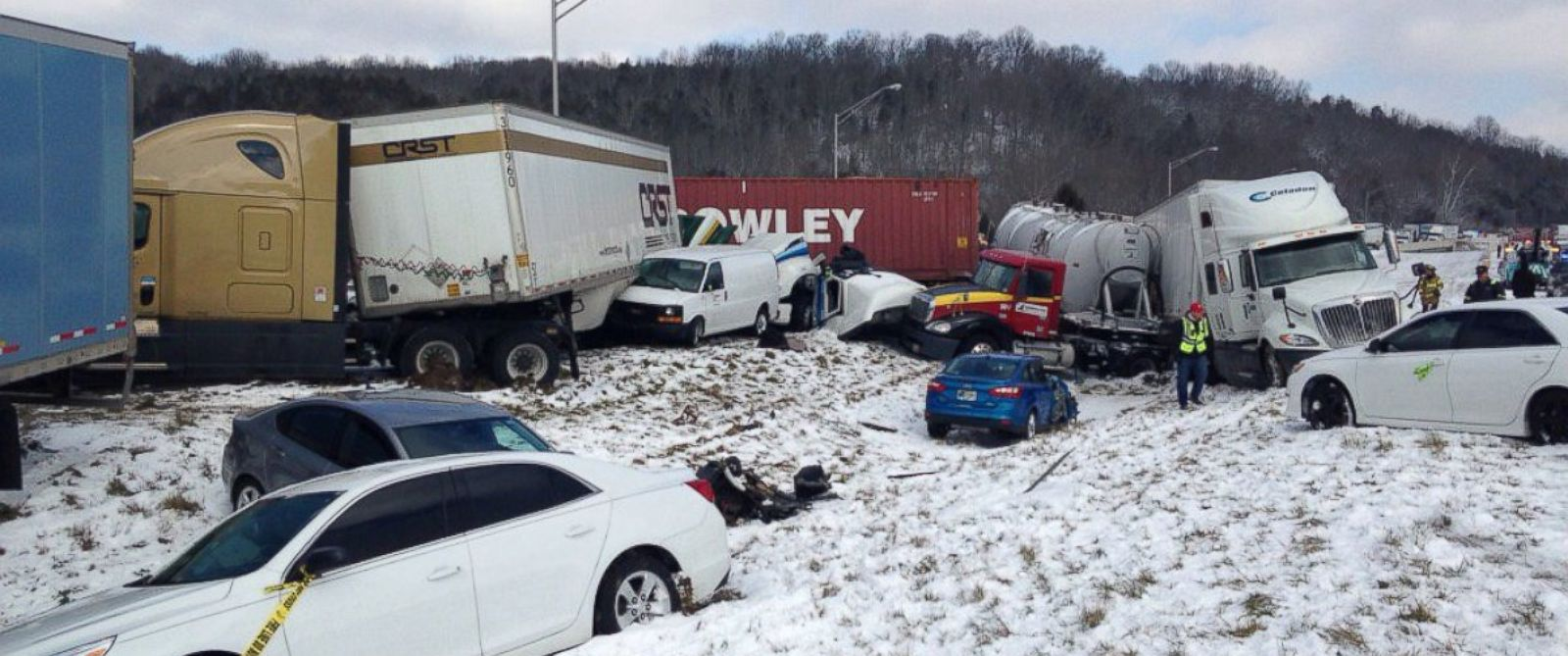 """PHOTO: Sgt. Stephen Wheeles posted this image of a crash near the Indiana-Ohio state line, Jan. 12, 2016, with this message: """"Close to 30 vehicles involved in I-74 crash."""""""