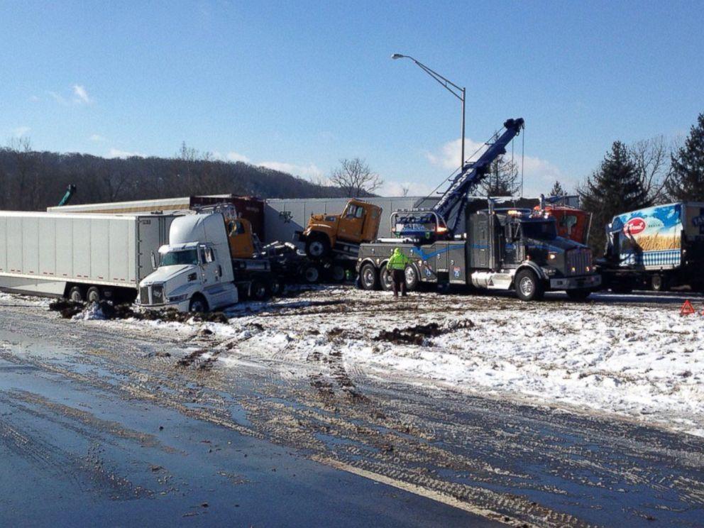 PHOTO: Sgt. Stephen Wheeles posted this photo of a crash near the Indiana-Ohio state line, Jan. 12, 2016, with this message: Crews working to clear I-74 crash near 168 mm. Two crashes involving 40 vehicles total in half mile stretch.